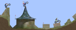 "Open trial, the motorbike trial game, ""The ruins"", colourised"