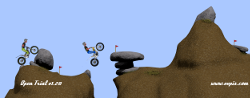 "Open trial, the motorbike trial game, ""The rake"", colourised"