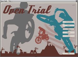 Open trial, the motorbike trial game, main screen